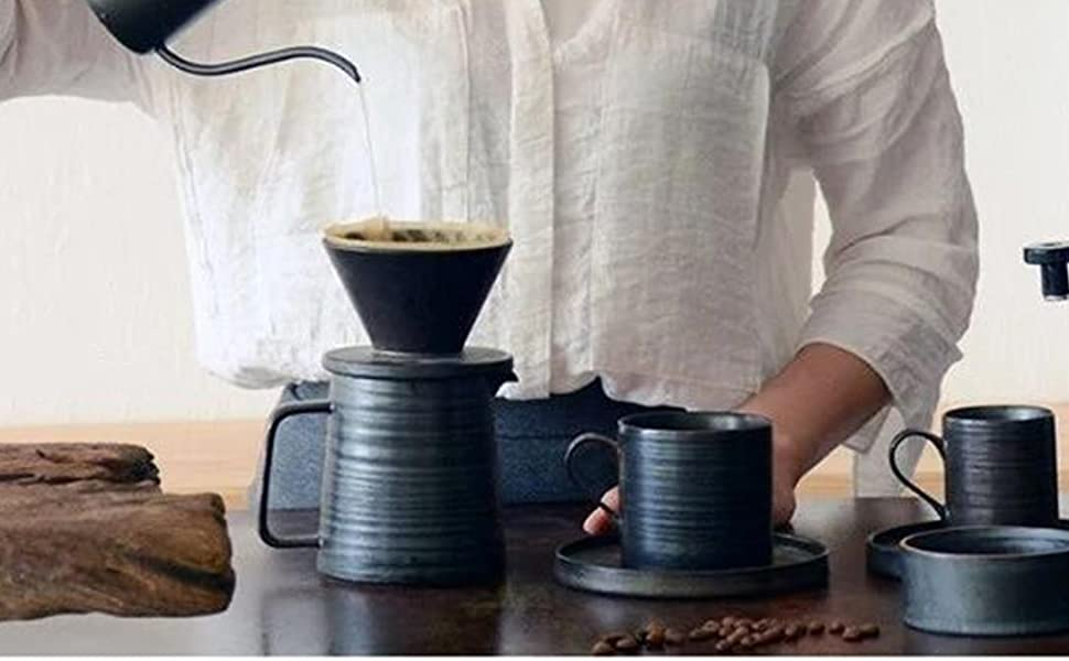 stoneware pourover coffee maker and cups set ceramic