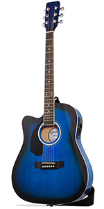 Blue Left Handed Cutaway Thinline Acoustic Electric Guitar