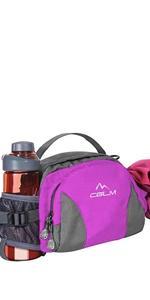 running fanny pack women water bottle hiking cycling walking large pink purple waist bag cglm