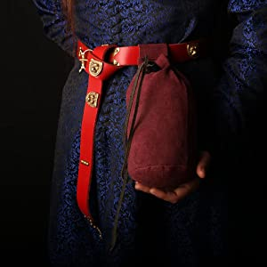 Drawstring medieval bag lady knight suede pouch leather LARP GN SCA WATER CARRIER