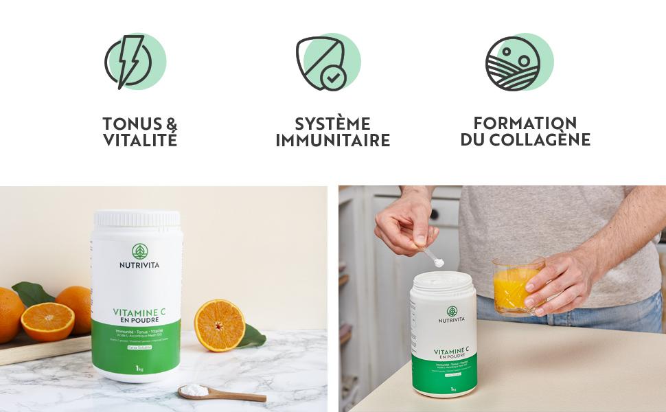 vitamine c vitamin poudre acide ascorbique bio cure fatigue pure effervescent nutrivita 1000 1kg