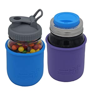 Ball and Kerr regular mouth Mason jars with silicone sleeves, pour lid, and drinking lid