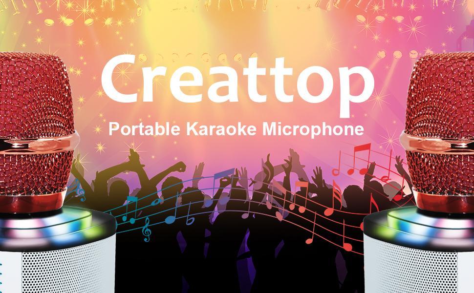 Wireless Microphone Karaoke Portable Karaoke Bluetooth Microphone with Dancing LED Lights