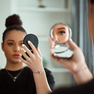 Luxury luxurious compact mirror magnification true view double sided vegan faux leather magnetic