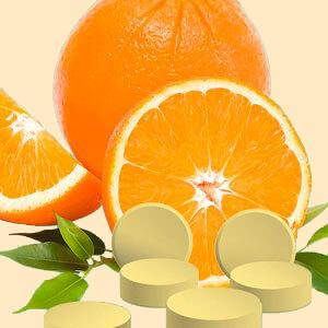 NutriCelebrity Vitamin C Chewables tablets with oranges