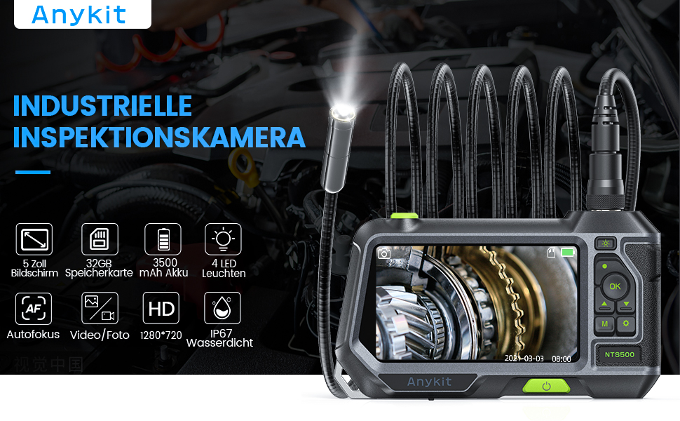 Anykit NTS500 Industrielle Autofokus Inspektionskamera