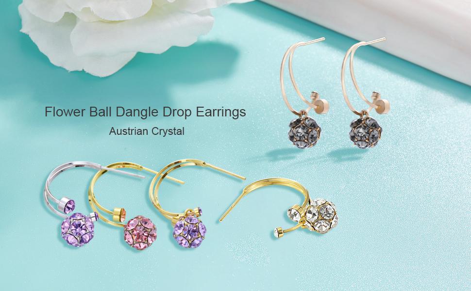 Crystal FlowerBall Drop Earrings