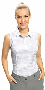 Camo sleeveless polo shirts