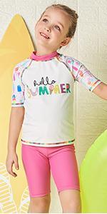 Julysand Toddler Girls Rash Guard Swimsuit Short Sleeve Two Piece Swimwear Summer Letters Beachwear