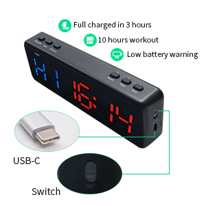 Full charged in 3 hours,10 hours workout,low battery warning