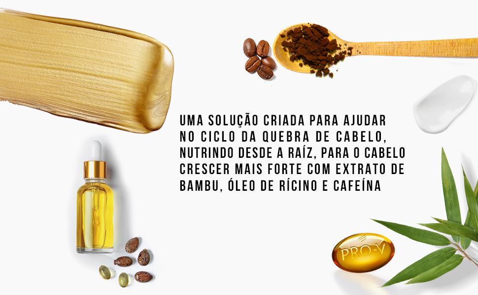 extrato de bambu, óleo de rícino e cafeína.