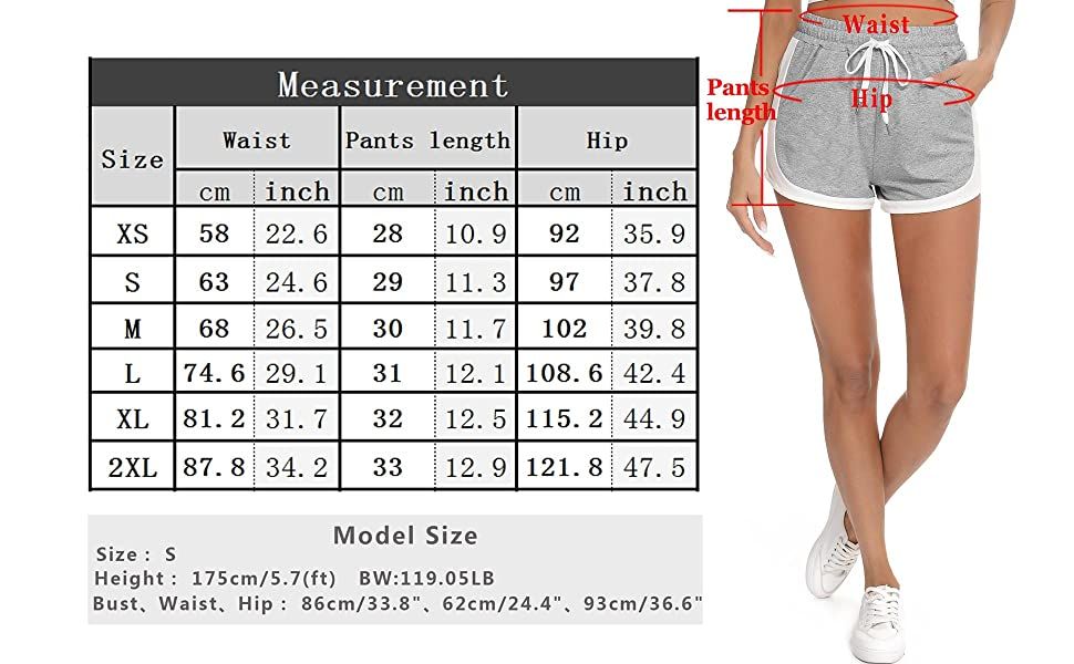 Womens Double Layer Elastic Wasit Running Athletic Shorts with Pockets