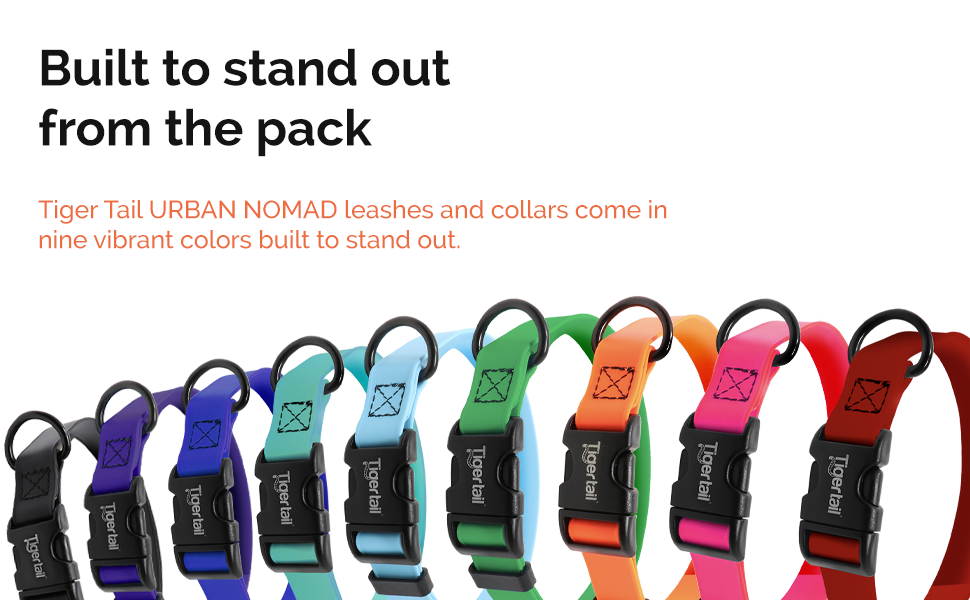 tiger tail urban nomad leashes and collars nine colors