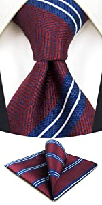 Maroon Striped Neckties for Men with Pocket Square