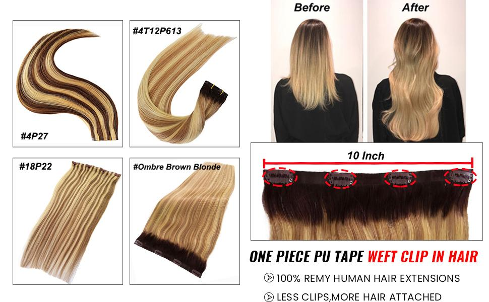 One Piece PU Tape Weft Clip in Hair