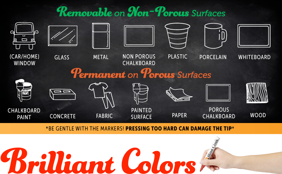 Chalk markers are removable on non-porous surfaces and permanent on porous surfaces.