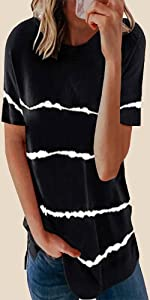 NEYOUQE Womens Loose Color Block Short Sleeve Tie Dye T Shirts Casual Comfy Tops