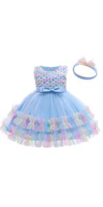 OBEEII Baby Girls Embroidery 3D Flower Girl Dress