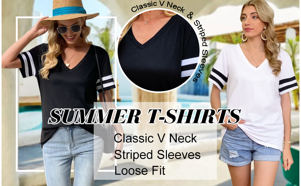 NSQTBA Womens T Shirts V Neck Short Sleeve Tshirts Loose Fit Summer Tops
