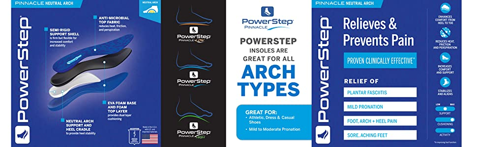 Powerstep Pinnacle Arch Support Insoles, Plantar Fasciitis Relief Shoe Inserts