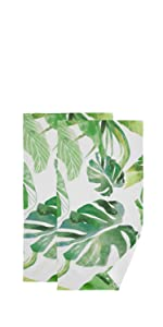 Green Palm Leaf Monstera Face Towel Set of 2