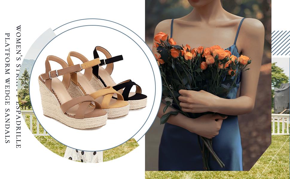 Women's Strappy Espadrille Platform Wedge Sandals