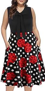 plus size sleeveless withe Bow Tid Nack swing dress