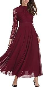 Aox Women Fashion Long Sleeve Crochet Lace Chiffon Evening Gown Long Dress