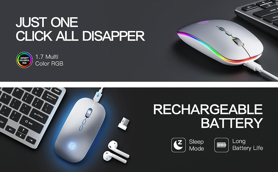 rechargeable wireless mouse with LED breathing light MOUSE with home button rgb wireless mouse