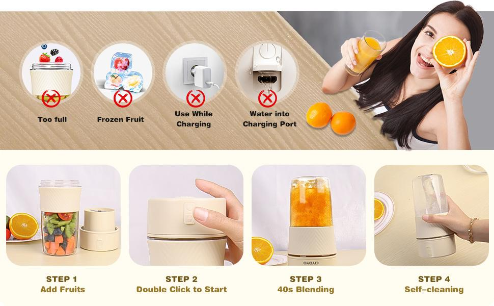 Portable Blender Smoothie Blenders Personal Size Blender USB Rechargeable Smoothies Juicer Cup