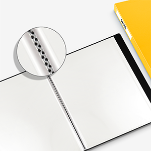 presentation book with archival quality bound sleeves. color show is yellow.