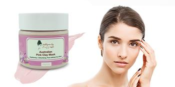 model with pink Australian clay mask by Indulgence by Saffron