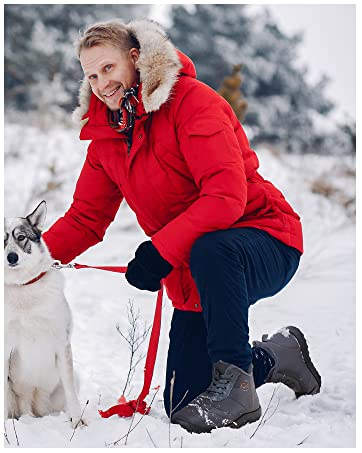 Mens Winter Snow Boots with Warm Fur Lined Ankle Booties Non Slip Boot Waterproof Hiking Shoes