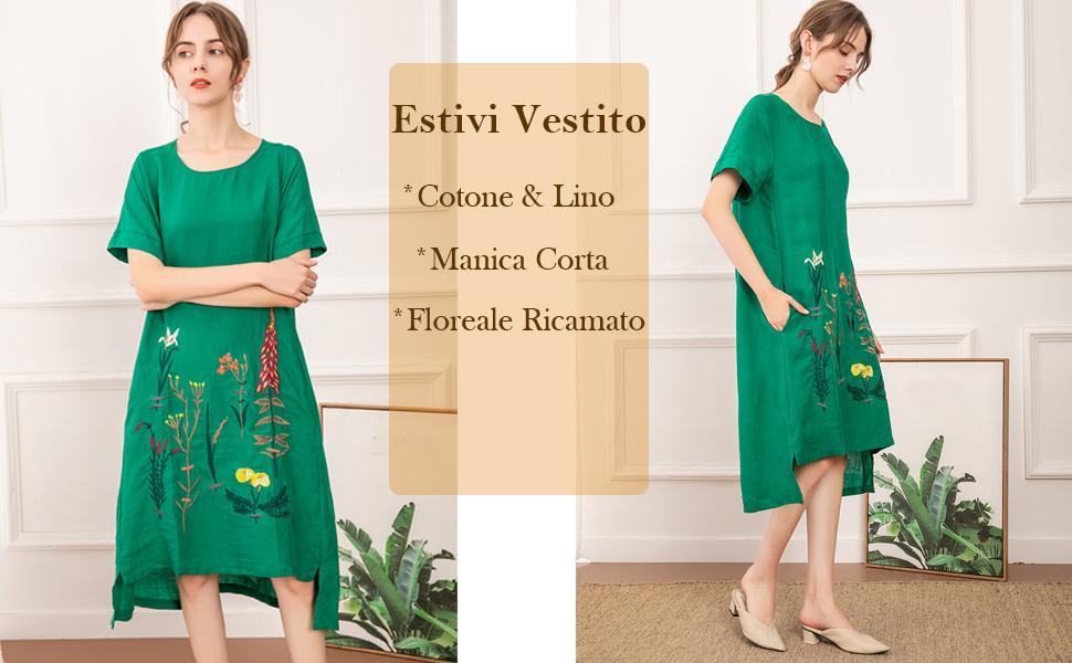 Donna Vestiti Estivi Girocollo Casual Vintage Ricamato Vestito Dress