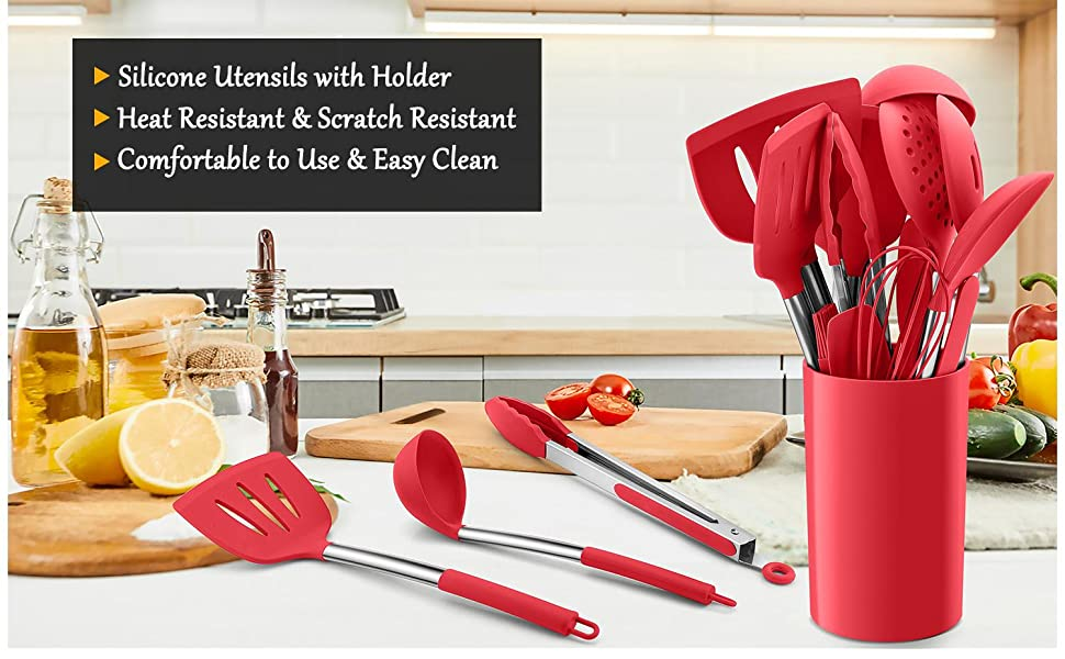silicone utensils with holder