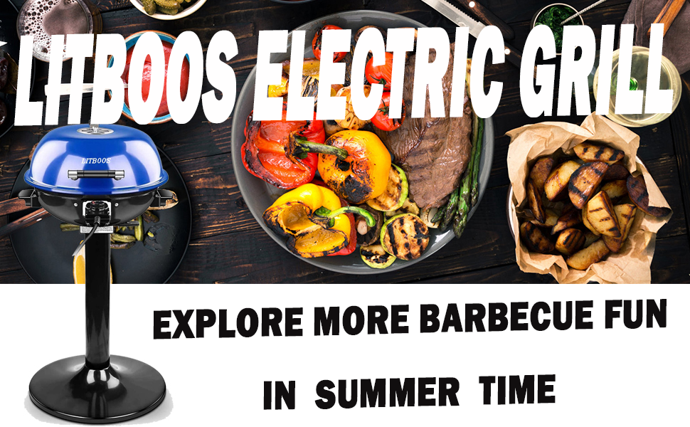 LITBOOS 15-Serving Electric Grill Indoor/Outdoor Electric BBQ Grill