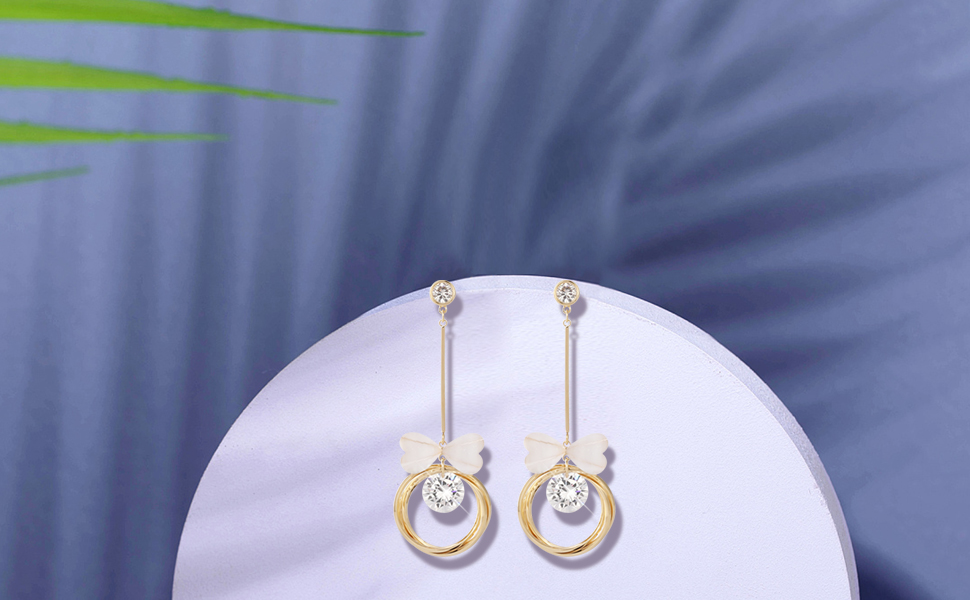 Shiny 14k Gold Plated Hoops with Bow Tie Round CZ Minimal Vertical Bar Long Dangle Drop Earrings