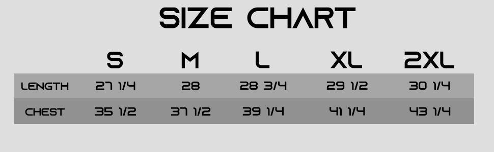 MT1 MT2 size chart