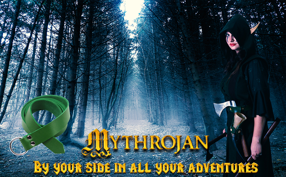 Mythrojan O Ring Medieval Leather Viking Belt LARP SCA warrior Renaissance Fair costume gothic elf
