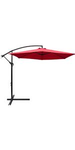 10 ft Patio Offset Umbrella (Red)