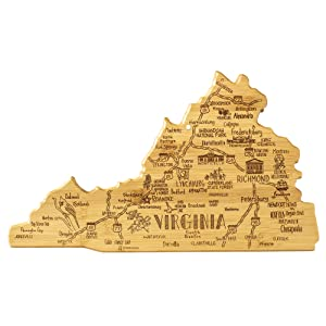 Destination Virginia State Shaped Serving and Cutting Board
