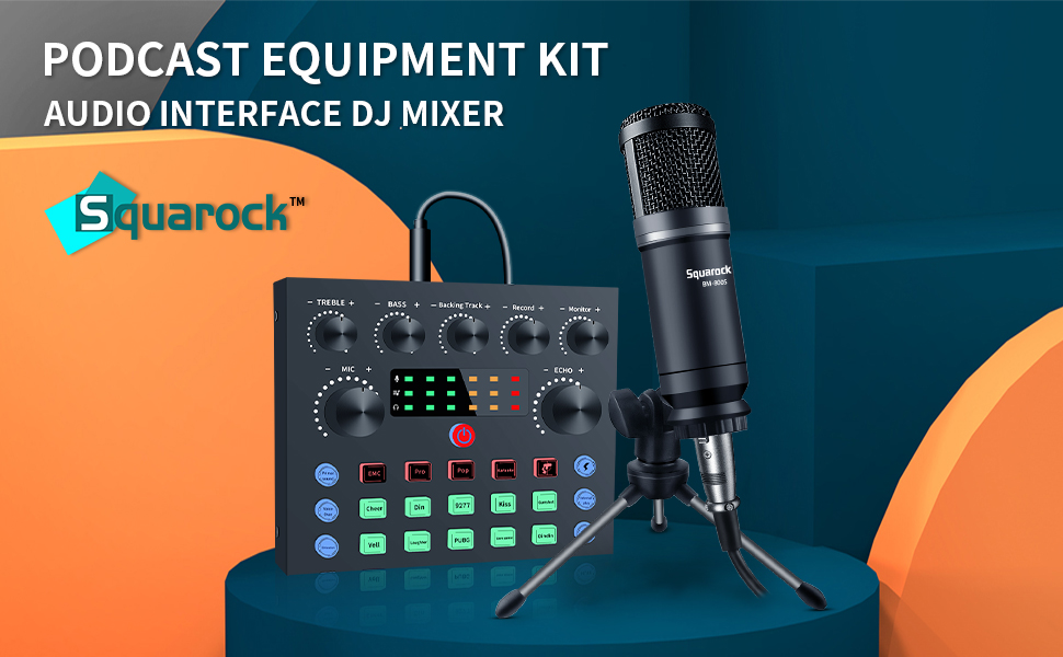 Squarock podcast equipment bundle live streaming sound mixer card microphone kit