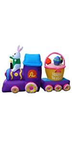 Inflatable Easter Train with Bunny Basket Egg