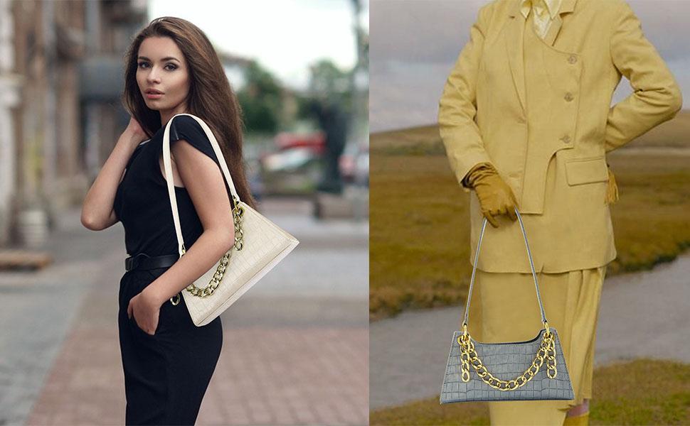Women Cellphone Purse Shoulder Handbag Clutch Tote Fashion Vintage Crocodile Classic Shoulder Bag