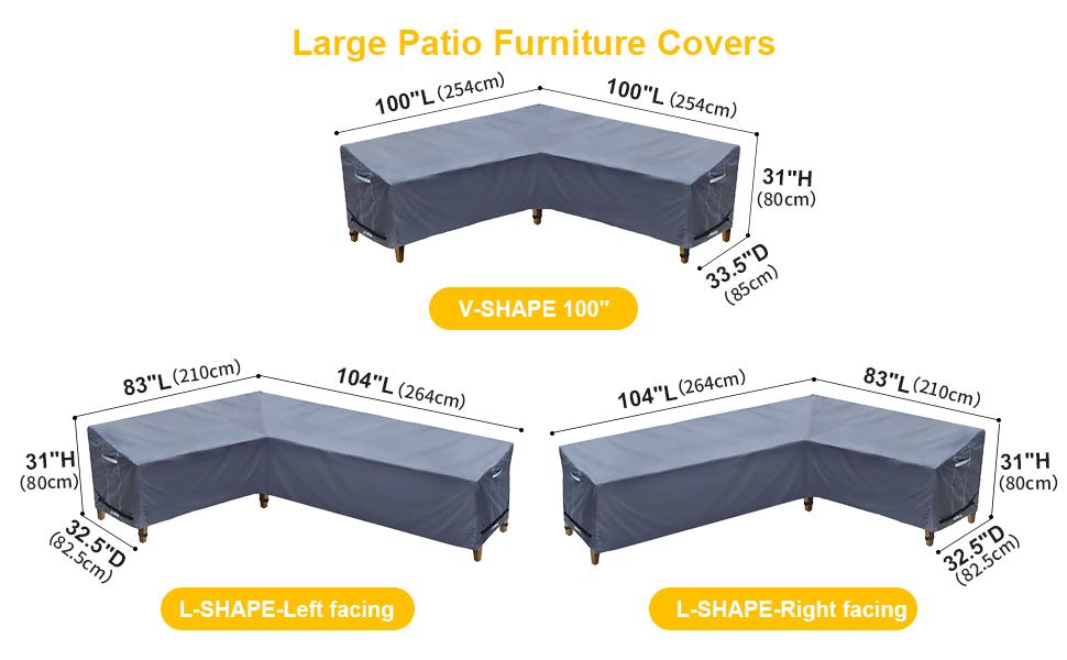 Size for outdoor sofa cover