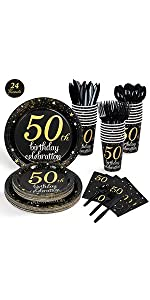 24 Guests 50th Birthday Party Supplies B089NH9MXK