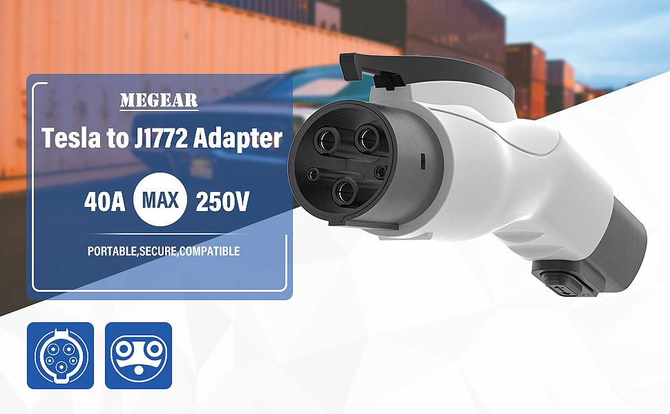 Tesla Connector Tesla to J1772adapter Max40A,250V Type-1 US EV Connector from J1772 to UMC Megear Tesla to SAE J1772 Adapter Mobile Connector for Electric Vehicle Car Charger