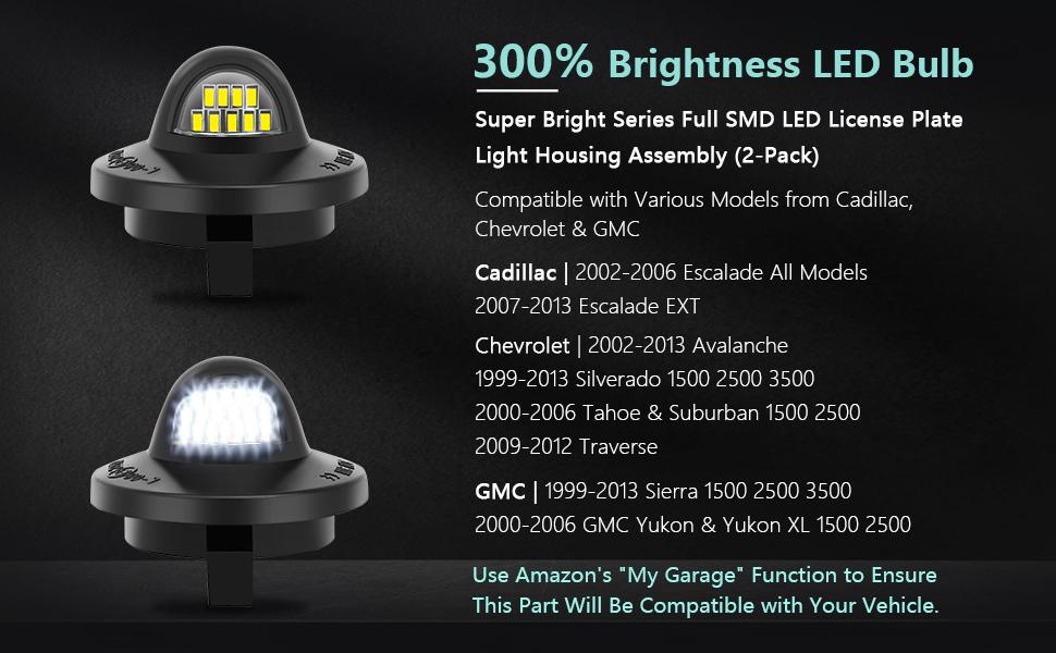 300% Brightness LED Bulb Full SMD LED License plate light Assembly