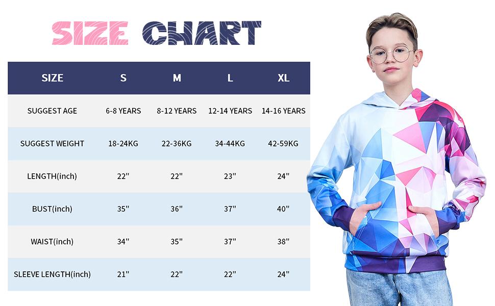 Kid Hoodies Size Chart