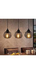 ZMH Suspension vintage noire Suspension E27 en métal Lampe de table à manger rétro